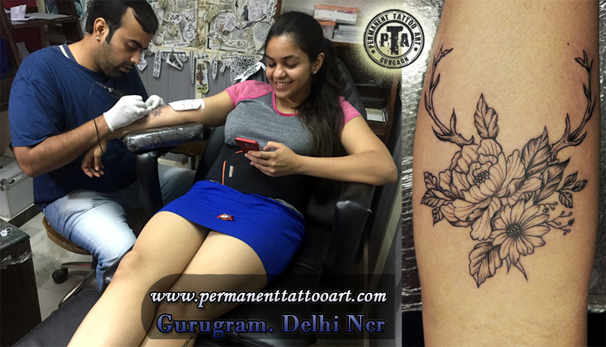 Flower Tattoo design Done by Deepak Kalra at Permanent Tattoo art
